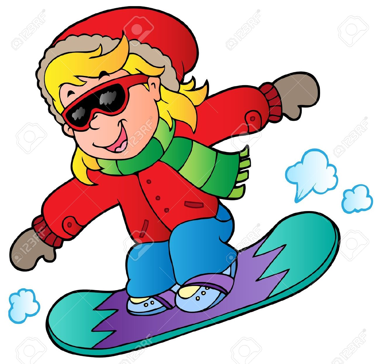 winter-clipart-11505290-Cartoon-girl-on-snowboard-illustrati