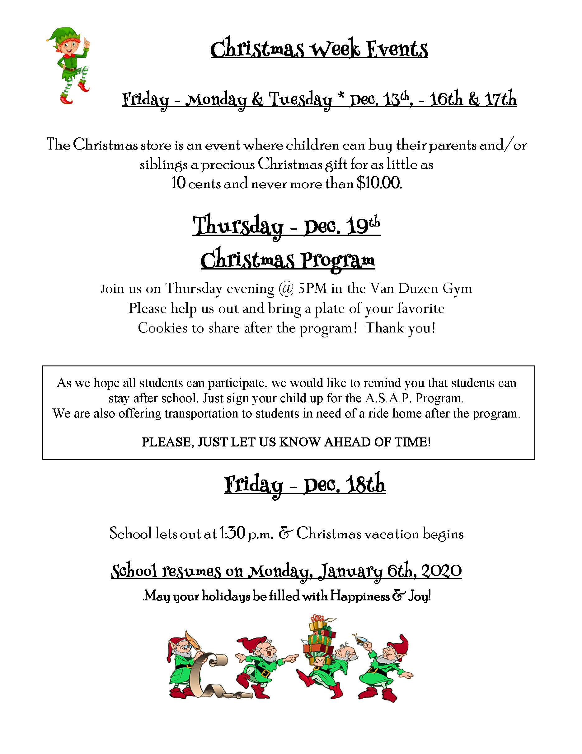 christmas week events